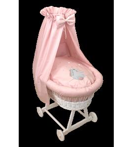 Moses Basket Fluffy Pink