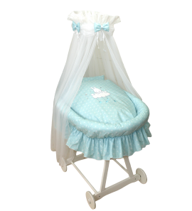 Moses Basket Bunny Dots Turquoise